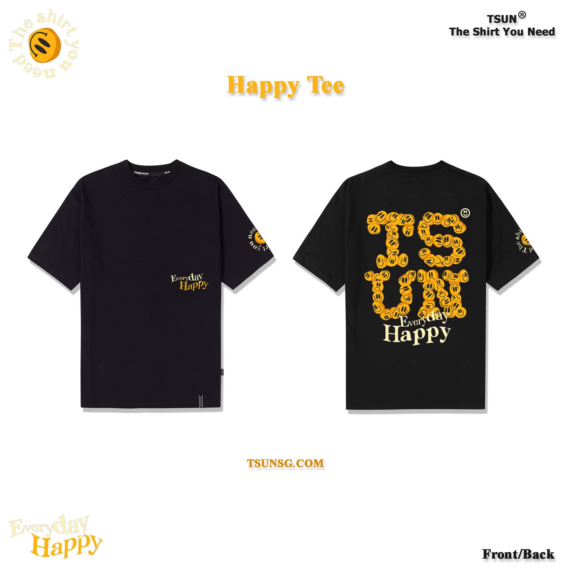 Happy Every Day Tee - Black