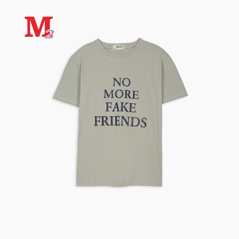 T-shirt nam cổ tròn in NO MORE..