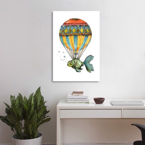 Tranh Canvas Balloon With Green Fish (30x45cm - 40x60cm - 50x70cm - 60x90cm)