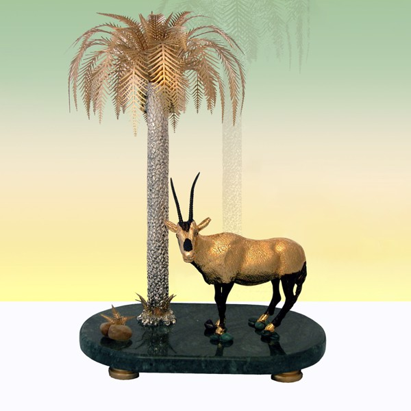 Tượng Oryx & Palm On Marble Base