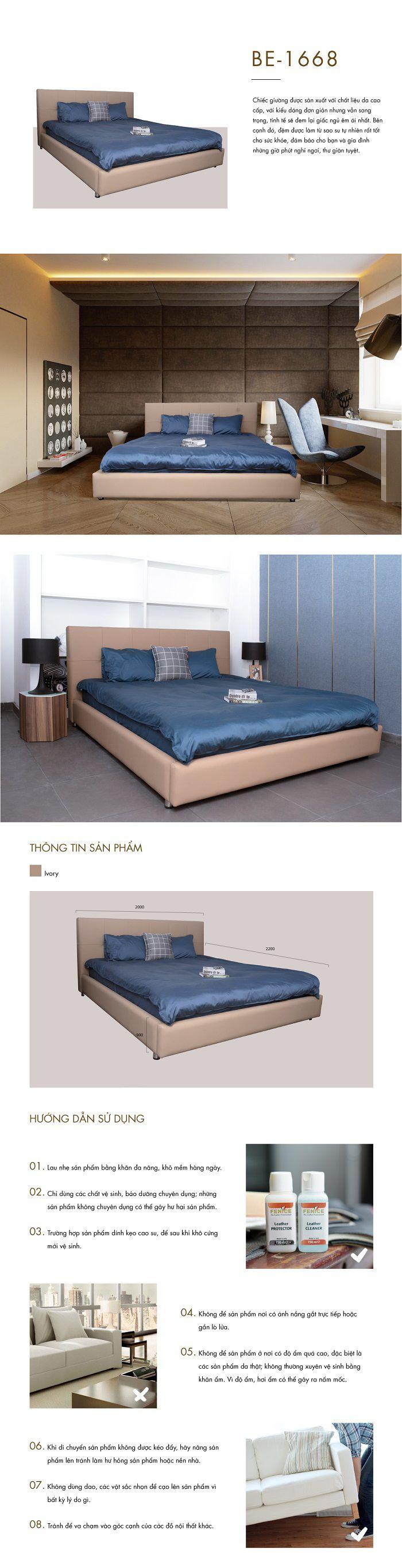 Giường BE 1668 kích thước nệm lớn