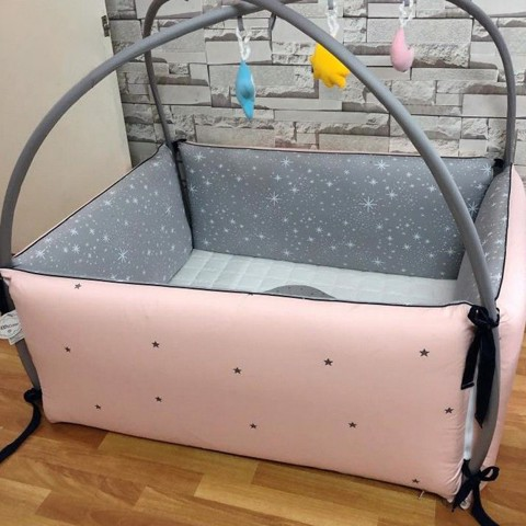 Giường Cotton Simple Star Pink Size Vừa LOL Baby (1.2x1.0x0.45m)
