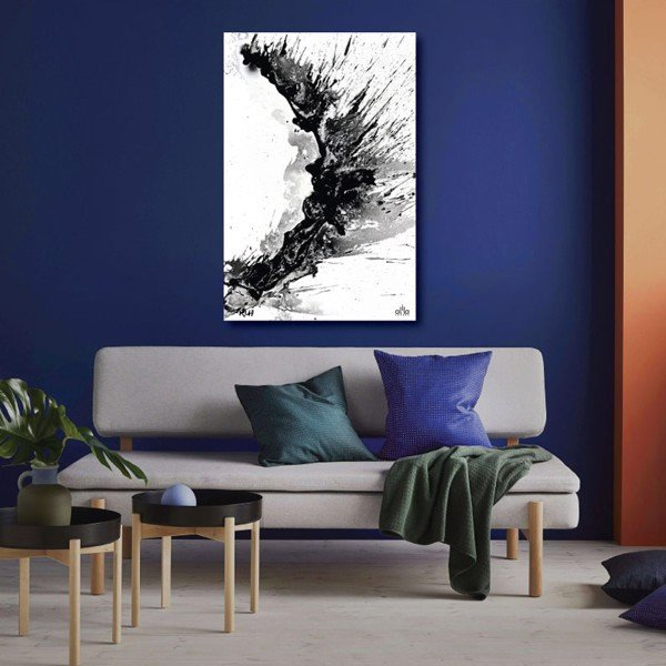Tranh Canvas Black And White Abstract 01 Alila (30x45cm - 40x60cm - 50x75cm - 60x90cm)