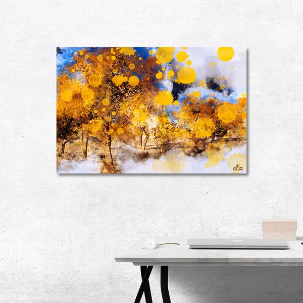 Tranh Canvas Blue And Gold Abstract 5 Alila (60x90cm)