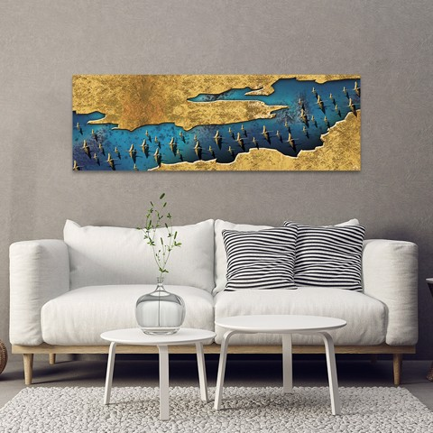 Tranh Canvas Blue And Gold Abstract Alila (40x120cm - 50x150cm)