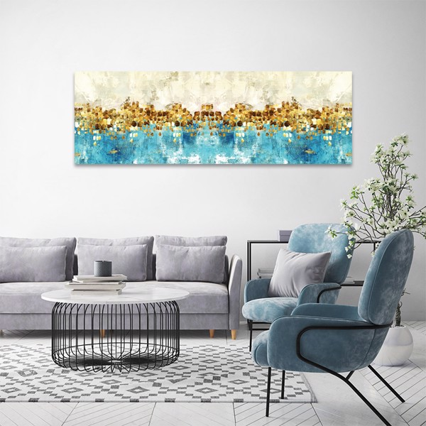 Tranh Canvas Blue And Gold Abstarct Alila (40x120cm - 50x150cm)