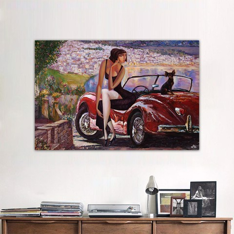 Tranh Canvas Girl On The Car Alila (60x90cm)