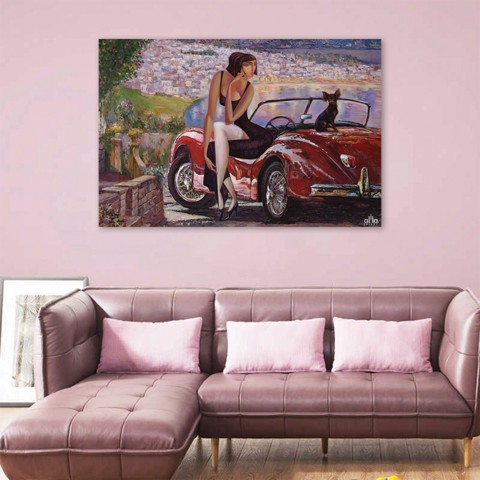 Tranh Canvas Girl On The Car Alila (40x60cm - 50x75cm - 60x90cm)
