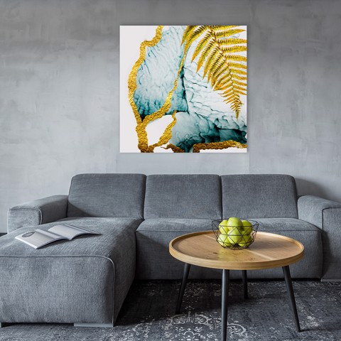 Tranh Canvas Gold And Blue Abstract Alila (40x40cm - 60x60cm - 80x80cm)