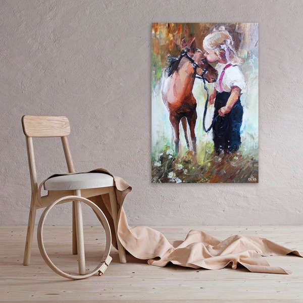 Tranh Canvas Little Girl With Horse Alila (60x90cm - 80x120cm - 100x150cm)