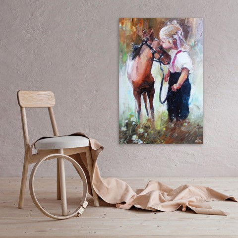 Tranh Canvas Little Girl With Horse Alila (40x60cm - 50x75cm - 60x90cm - 80x120cm - 100x150cm)