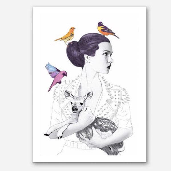 Tranh Canvas Lady With Deer And Birds (40x60cm - 50x75cm - 60x90cm)
