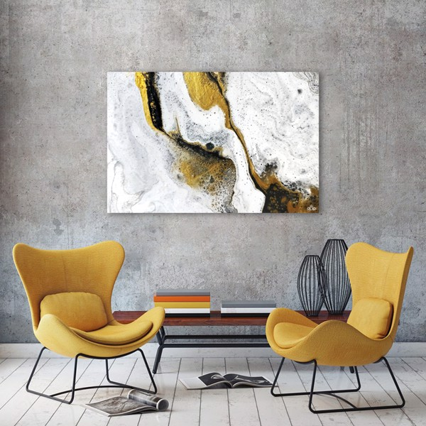 Tranh Canvas White And Yellow Abstract Alila (40x60cm - 50x75cm - 60x90cm)
