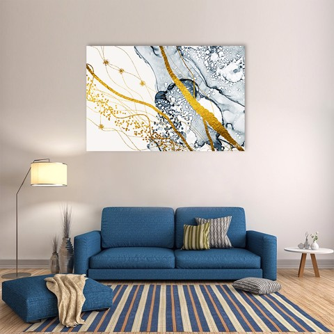 Tranh Canvas Yellow And Blue Abstract Alila (40x60cm - 50x75cm - 60x90cm)