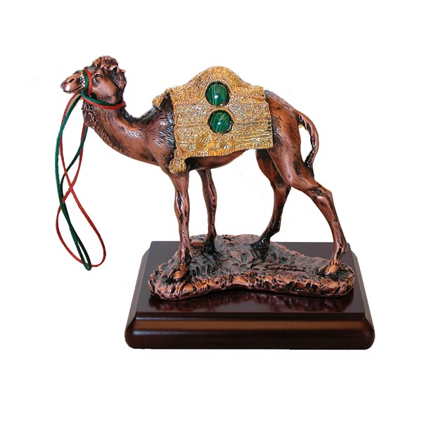 Tượng Copper Camel With Golden Antique Finishing