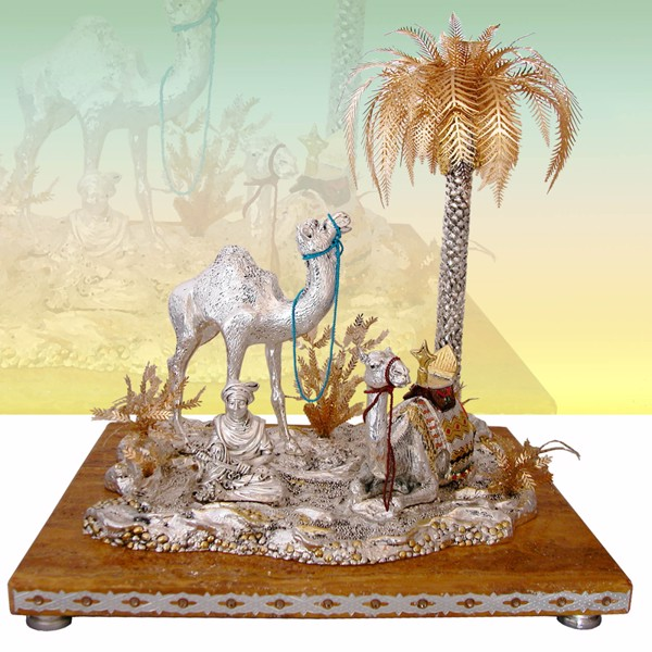 Tượng Oasis 2 Camels Beduin Palm with Marb.B