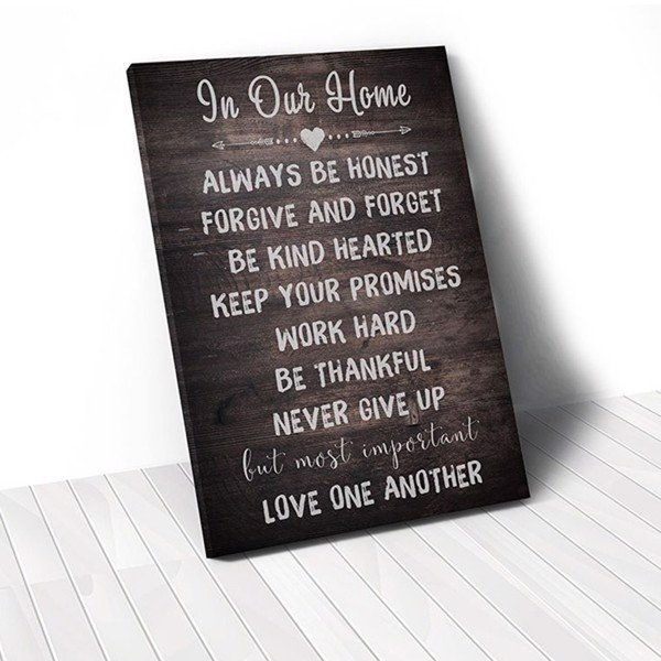 Tranh Canvas Quotes In Our Home Quote Wood (40x60cm - 50x75cm - 60x90cm)