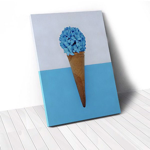 Tranh Canvas Blue Flower Ice Cream (40x60cm - 50x75cm - 60x90cm)