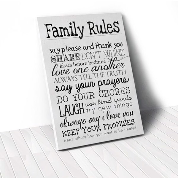Tranh Canvas Quotes Family Rules White (40x60cm - 50x75cm - 60x90cm)