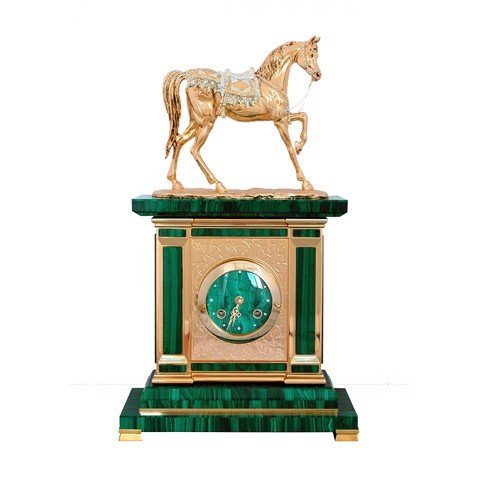 Đồng hồ Clock Malachite with Arab Gold Horse Silver