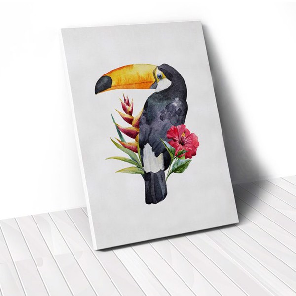Tranh Canvas Parrot With Flower 2 (40x60cm - 50x75cm - 60x90cm)