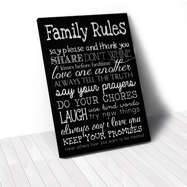 Tranh Canvas Quotes Family Rules Full Black (40x60cm - 50x75cm - 60x90cm)
