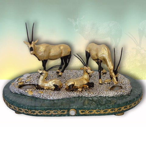 Tượng 04 Oryxes On Marble Base with Trims