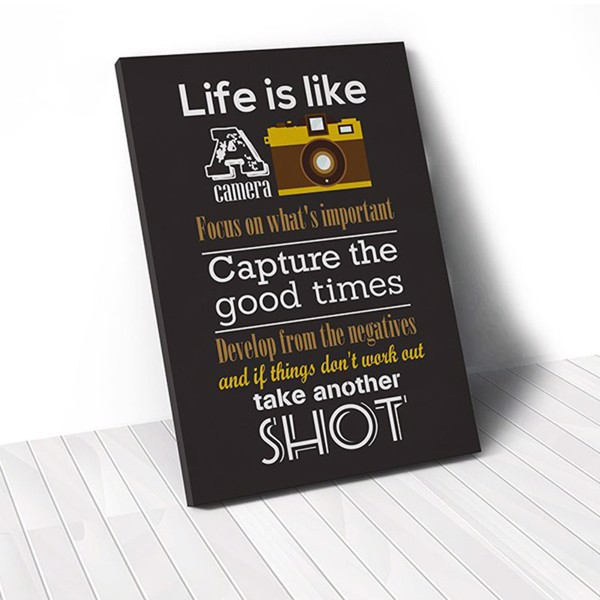 Tranh Canvas Quotes Life Is Like A Camera And Black (40x60cm - 50x75cm - 60x90cm)