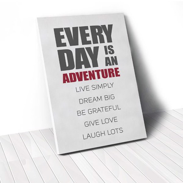 Tranh Canvas Quotes Everyday Is An Adventure Red (40x60cm - 50x75cm - 60x90cm)