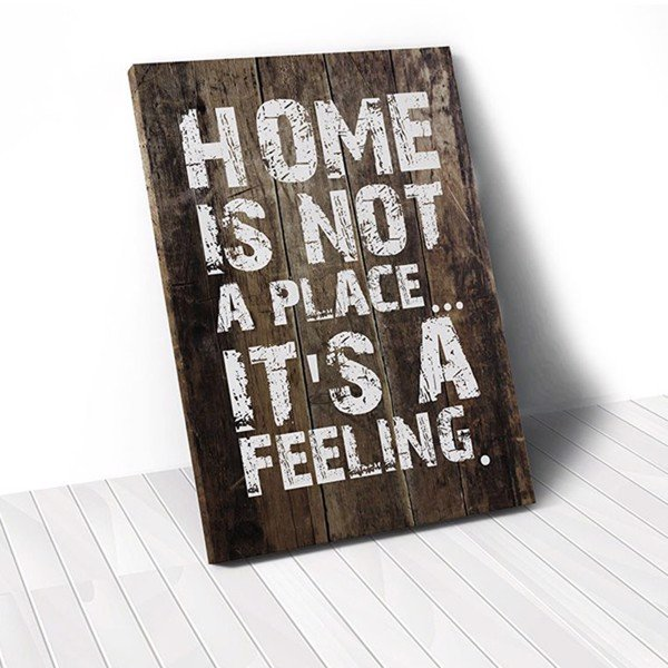 Tranh Canvas Quotes Home Is Not A Place Brown Wood (40x60cm - 50x75cm - 60x90cm)