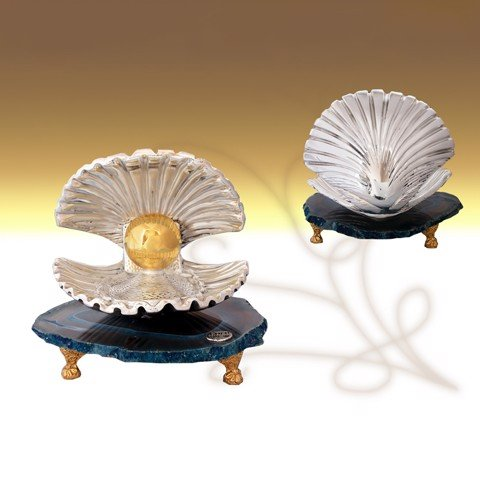 Tượng Big Shell Silver with Gold Pearl