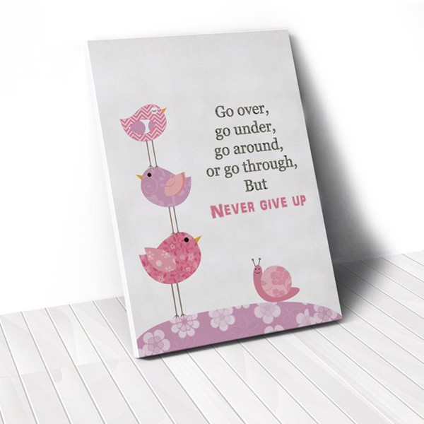 Tranh Canvas Quotes Never Give Up (40x60cm - 50x75cm - 60x90cm)