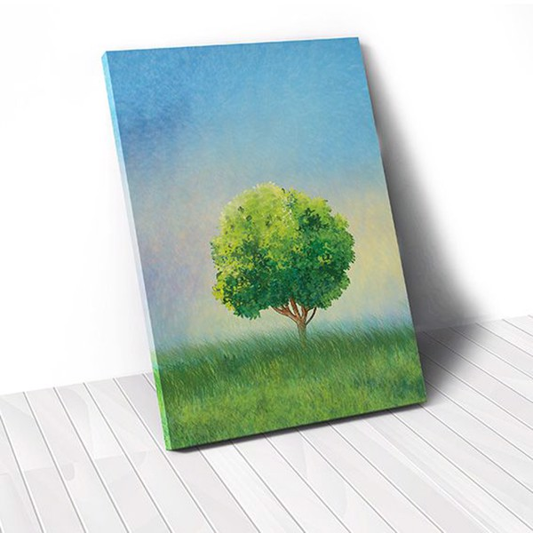Tranh Canvas Lonely Tree On Green Field (40x60cm - 50x75cm - 60x90cm)