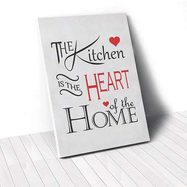 Tranh Canvas Quote The Kitchen Is The Heart 2 (40x60cm - 50x75cm - 60x90cm)