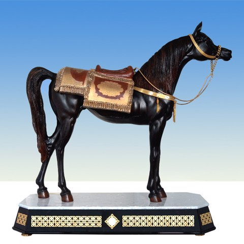 Tượng Maxi Horse With Saddle Base with Trims