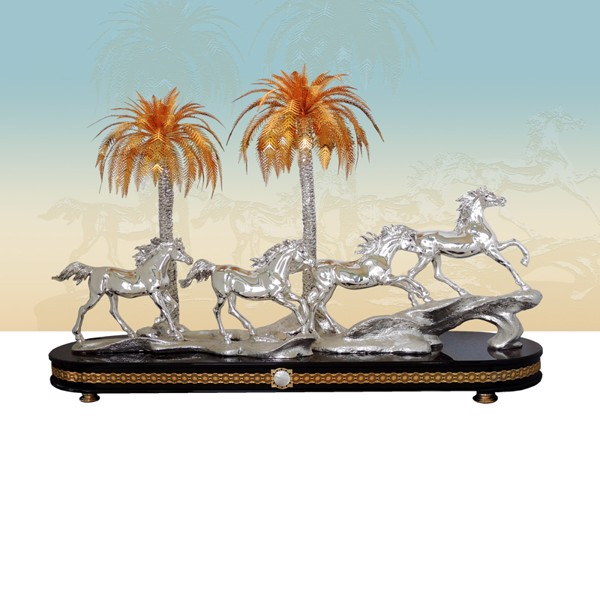 Tượng 04 Silver Running Horses With Palms