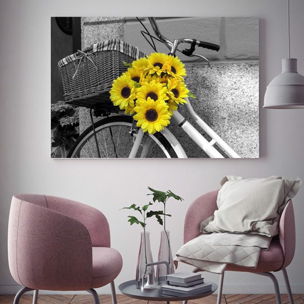 Tranh Canvas Bicycle With Sunflower (40x60cm - 50x75cm - 60x90cm)