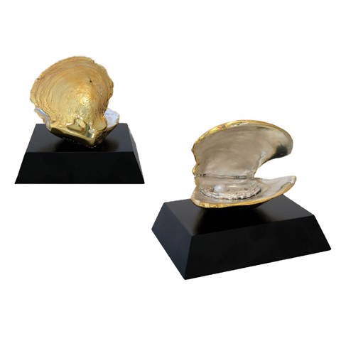 Tượng Small Shell Oyster Gold With Wood Base