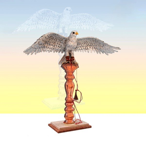 Tượng Silver Falcon Open Wings On Copper Stand