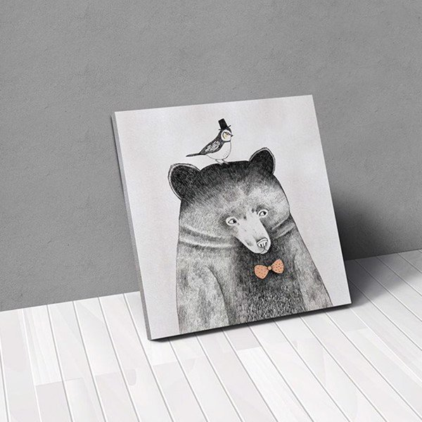 Tranh Canvas Bird And Bear (50x50cm - 60x60cm)