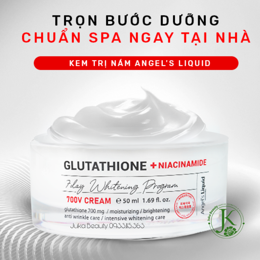 Kem dưỡng trị thâm nám Angel's Liquid Glutathione + Niacinamide 7Day Whitening Program 700 V-Cream 50ml