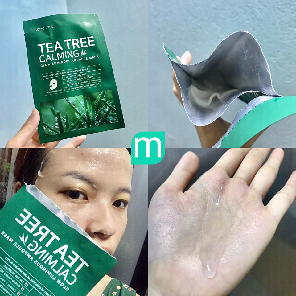 Mặt Nạ Giấy Some By Mi Tea Tree Calming Sheet Mask 25gr_Xanh lá