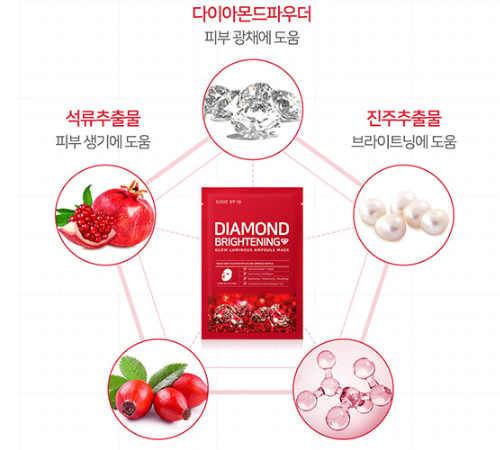 Mặt Nạ Giấy Some By Mi Diamond Brightening Sheet Mask 25gr_Đỏ – Juka Beauty