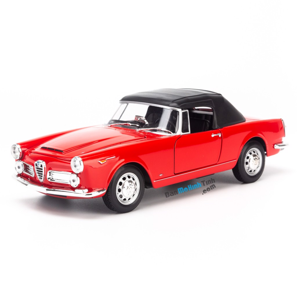 Mô hình xe Alfa Romeo Spider 2600 1960 - Soft Top 1:24 Welly Red-24003HW