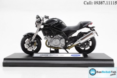 MÔ HÌNH CAGIVA RAPTOR 1000 BLACK 1:18 WELLY