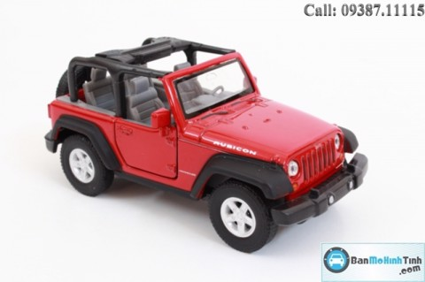 XE MÔ HÌNH JEEP WRANGLER RUBICON OPEN TOP RED 1:36 WELLY