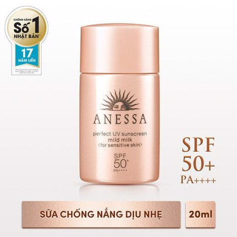 Anessa- Sữa chống nắng Perfect Mild Milk SPF 50+ PA++++ 20ml