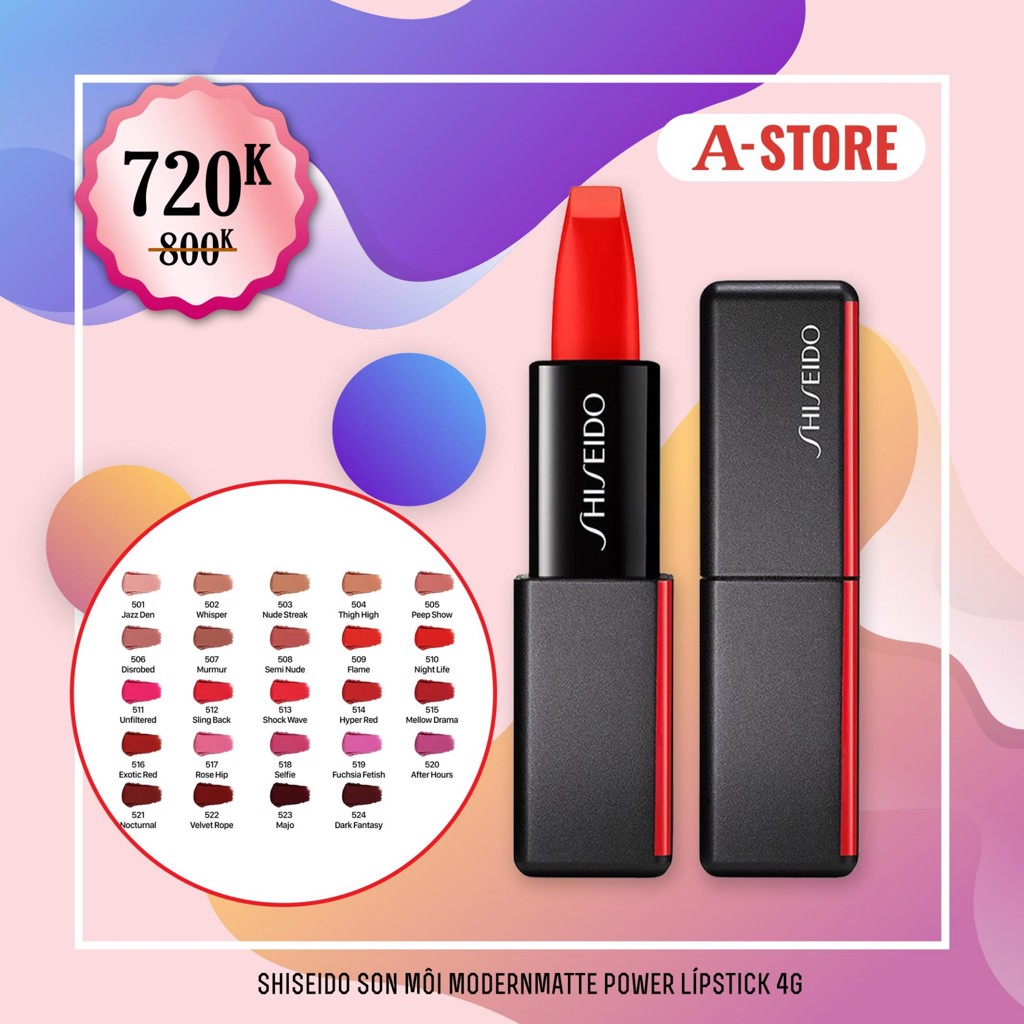 Shiseido Son môi Modernmatte Power Lípstick số 510 Night Life 4g