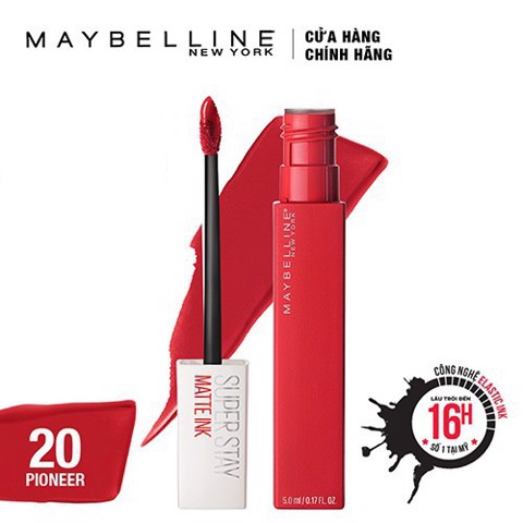 Maybelline- Son kem lì Super Stay #20 màu đỏ 5ml