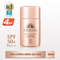 Anessa- Sữa chống nắng Perfect Mild Milk SPF 50+ PA++++20ml